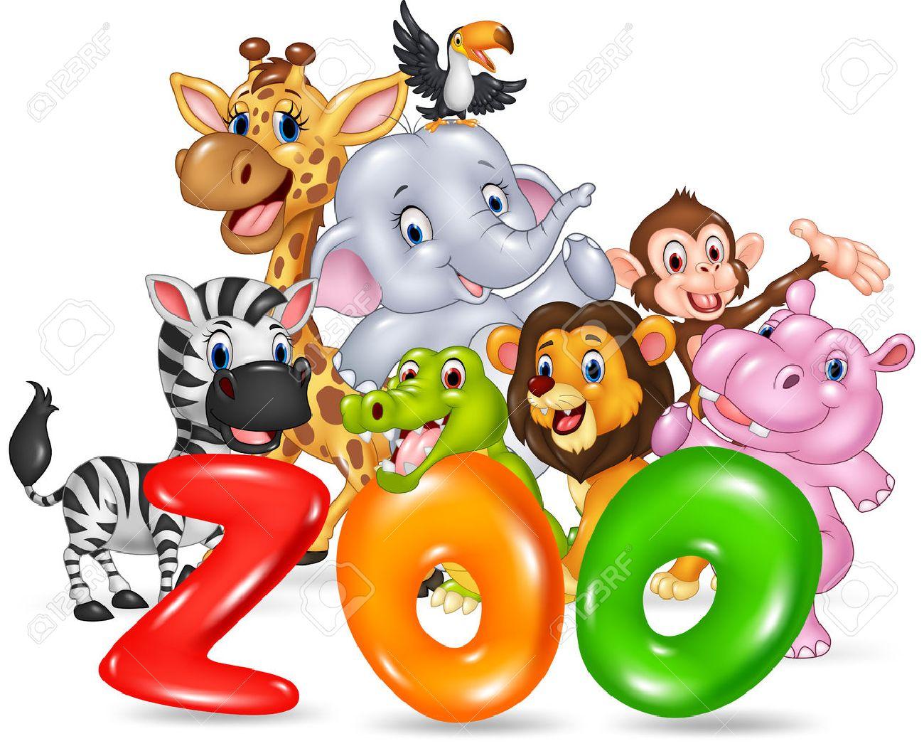 Vector illustration of Word zoo with happy cartoon wild animal africa - 55515802