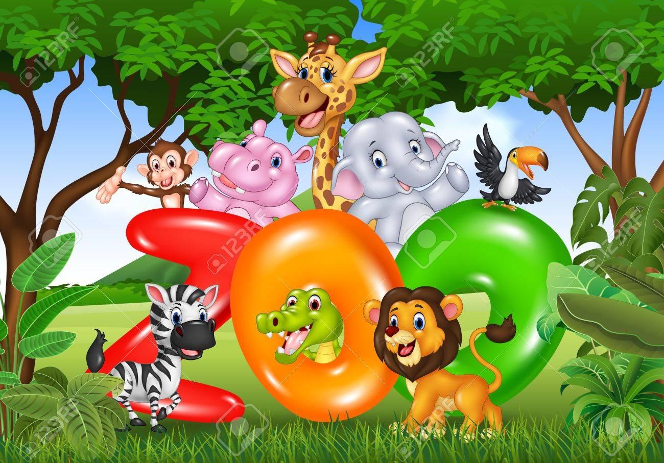 Vector Illustration De La Parole Zoo Avec Afrique Dessin Anime Animal Sauvage Clip Art Libres De Droits Vecteurs Et Illustration Image 55517149