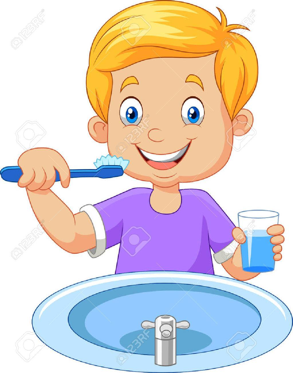 vector illustration of cute little boy brushing teeth royalty free