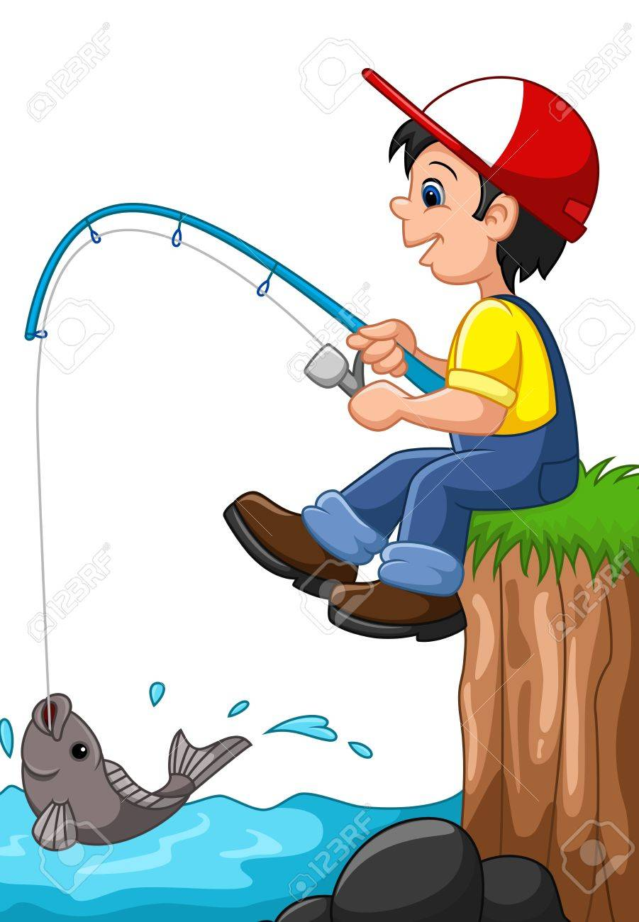 illustration of little boy fishing royalty free cliparts vectors rh 123rf com Little Boy Fishing Cartoon boy fishing clipart free