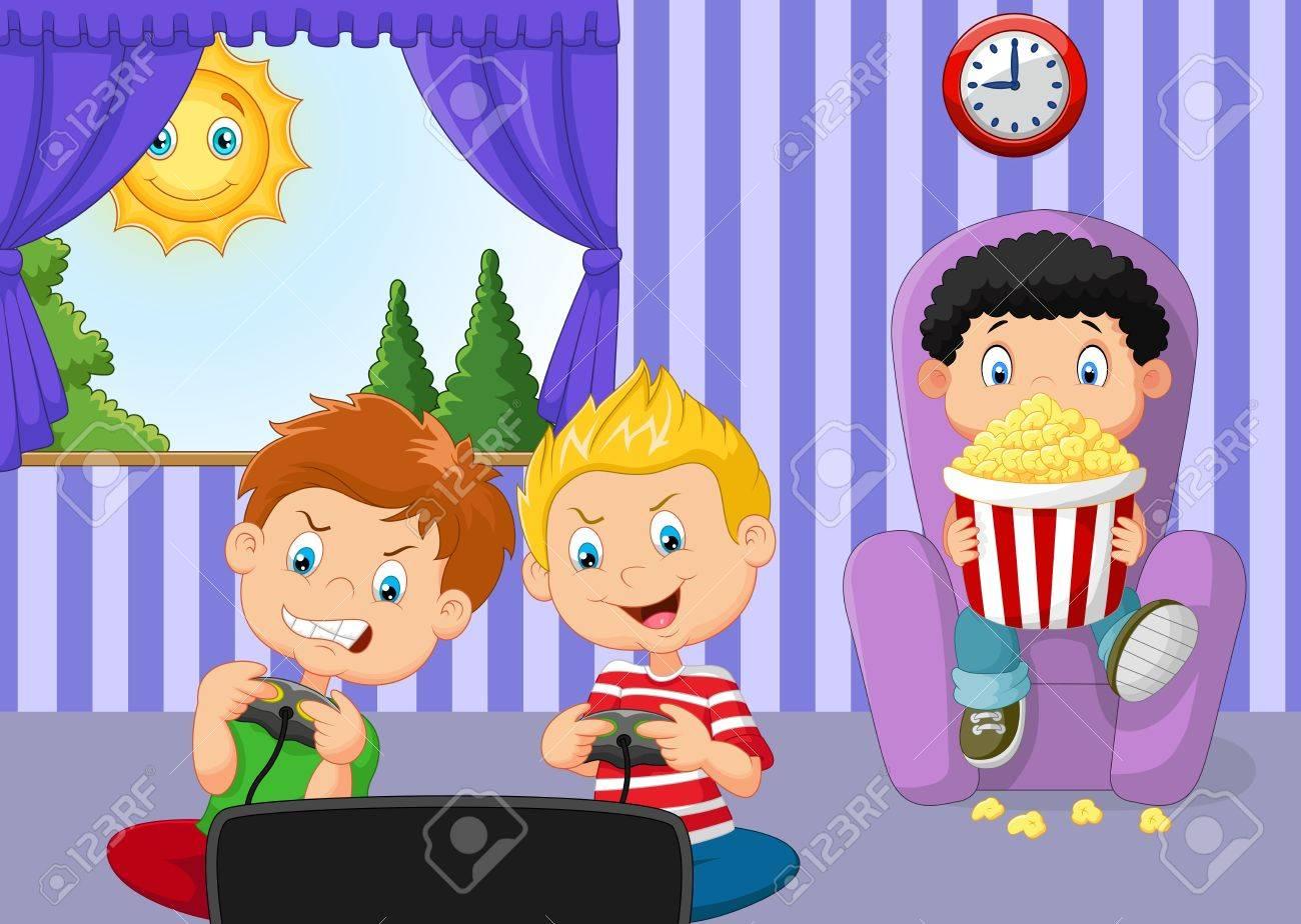 ビデオ ゲームをプレイする小さな男の子のイラストのイラスト素材