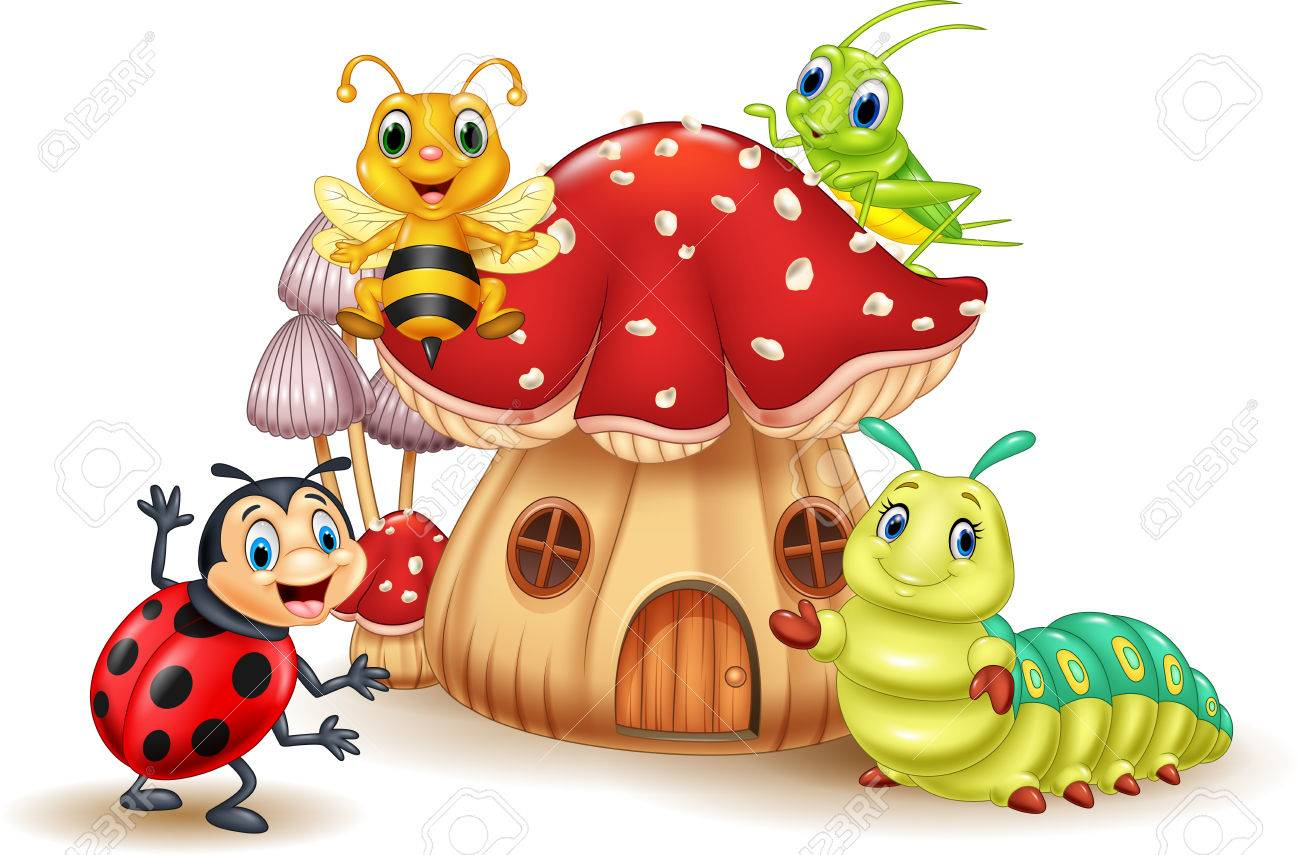 Vector illustration of Cartoon small insect with mushroom house - 76841429