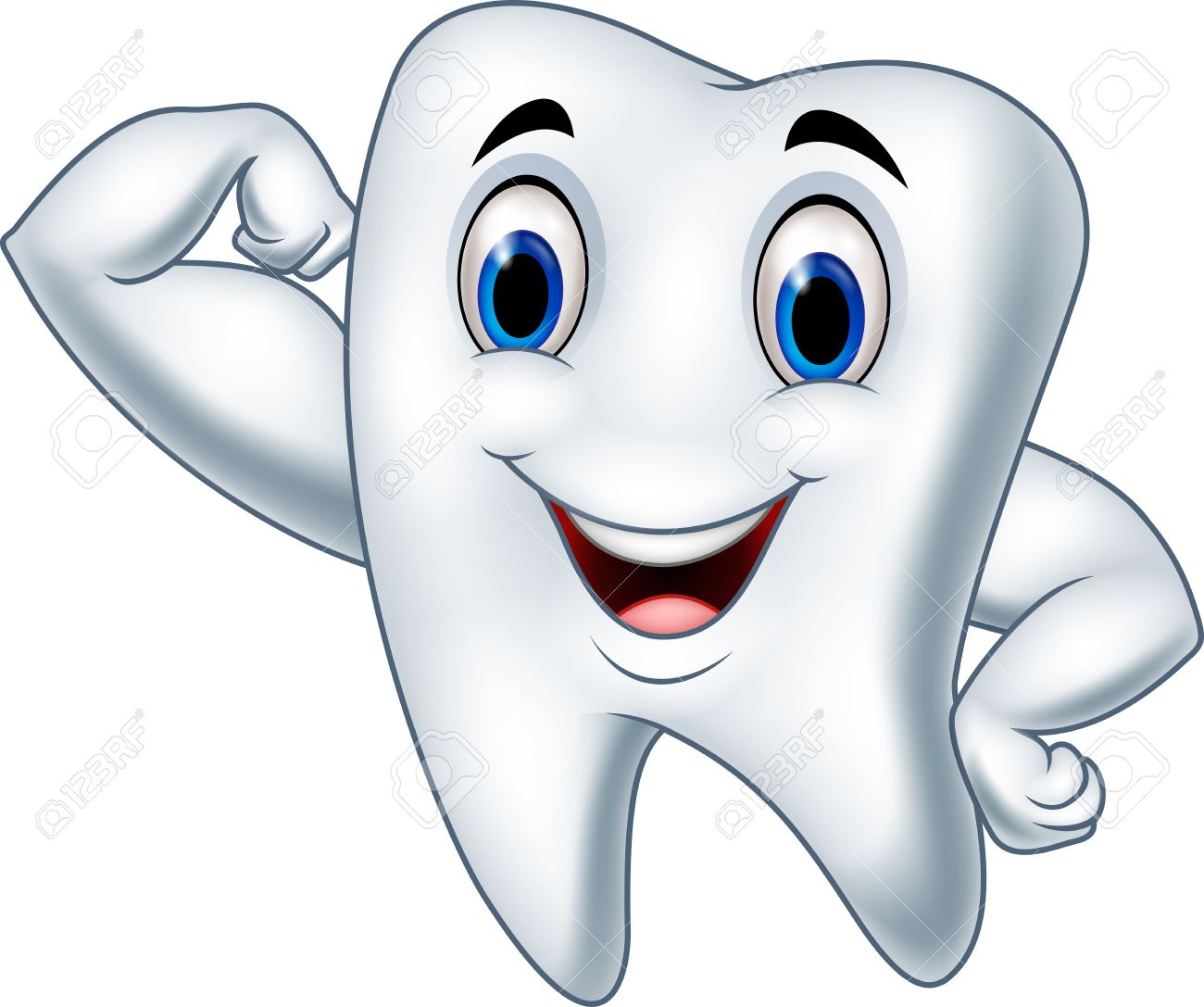 vector illustration of cartoon strong tooth character royalty free