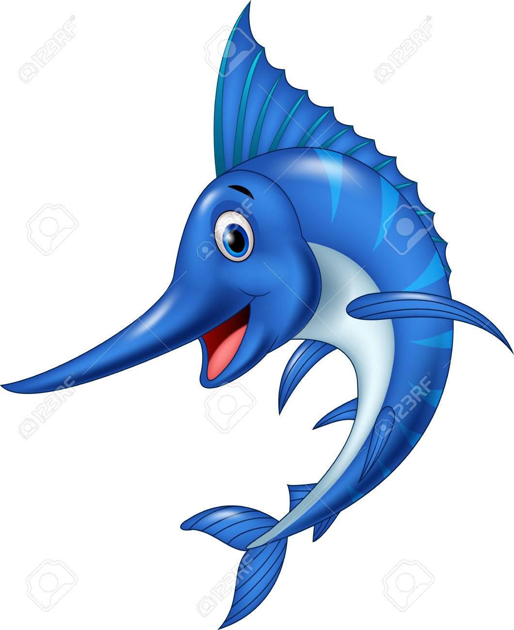 vector illustration of cartoon swordfish isolated on white rh 123rf com swordfish clipart swordfish clipart free