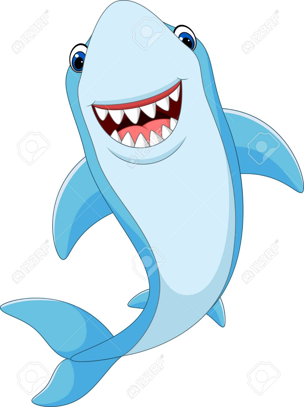 Vector - Vector illustration of Cartoon funny shark isolated on white background
