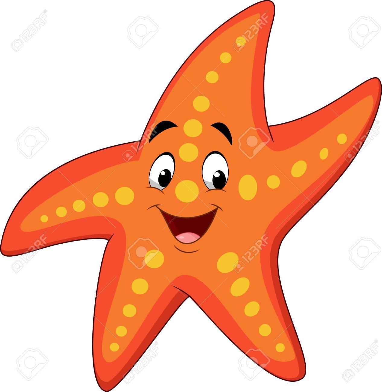 Ilustracion Vectorial De Estrellas De Mar Feliz De Dibujos Animados