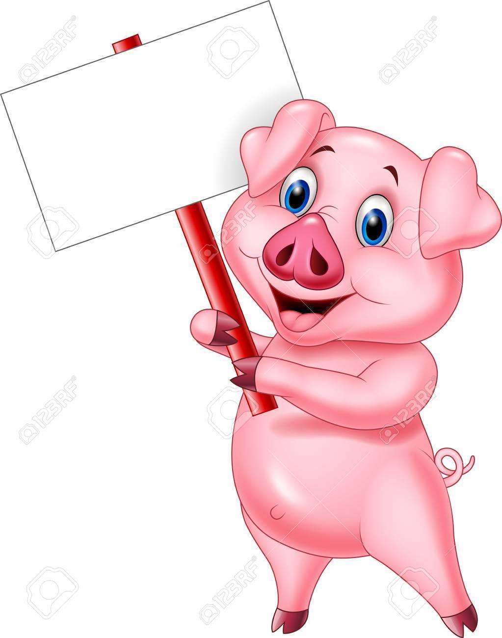 Cochon Dessin illustration vectorielle de cochon dessin animé tenant une pancarte