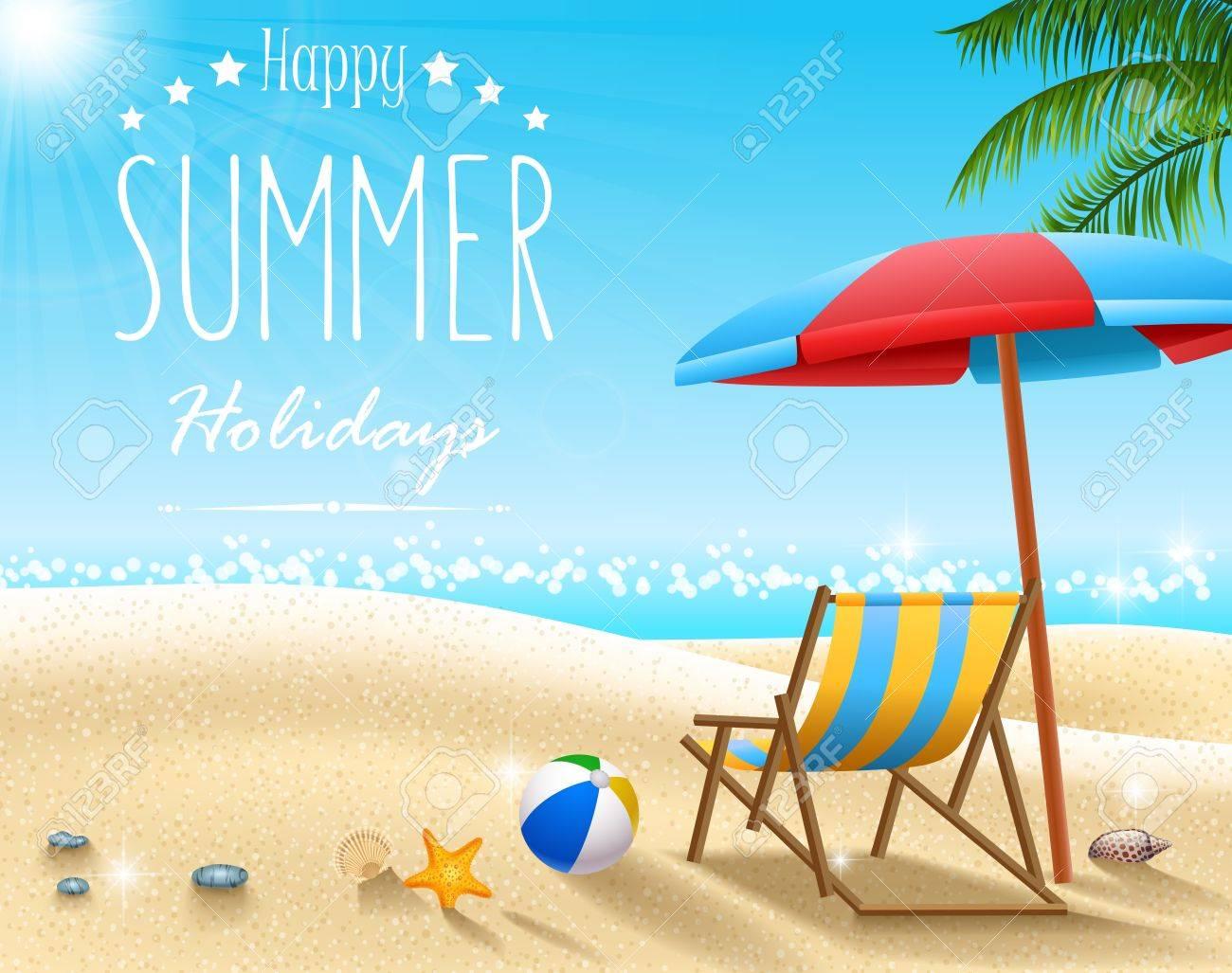 Vector illustration of Summer beach background - 76868385