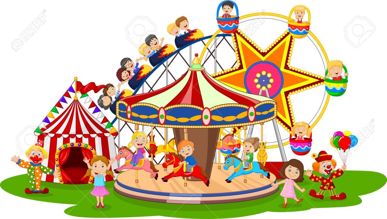 vector illustration of carton amusement park royalty free cliparts rh 123rf com amusement park rides clipart black and white amusement park clipart free