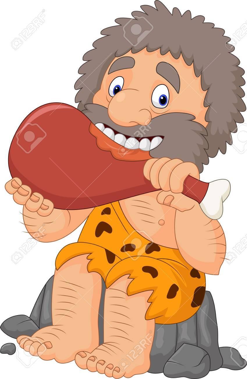 Ilustración De Vector De Dibujos Animados Hombre De Las Cavernas Comiendo Carne
