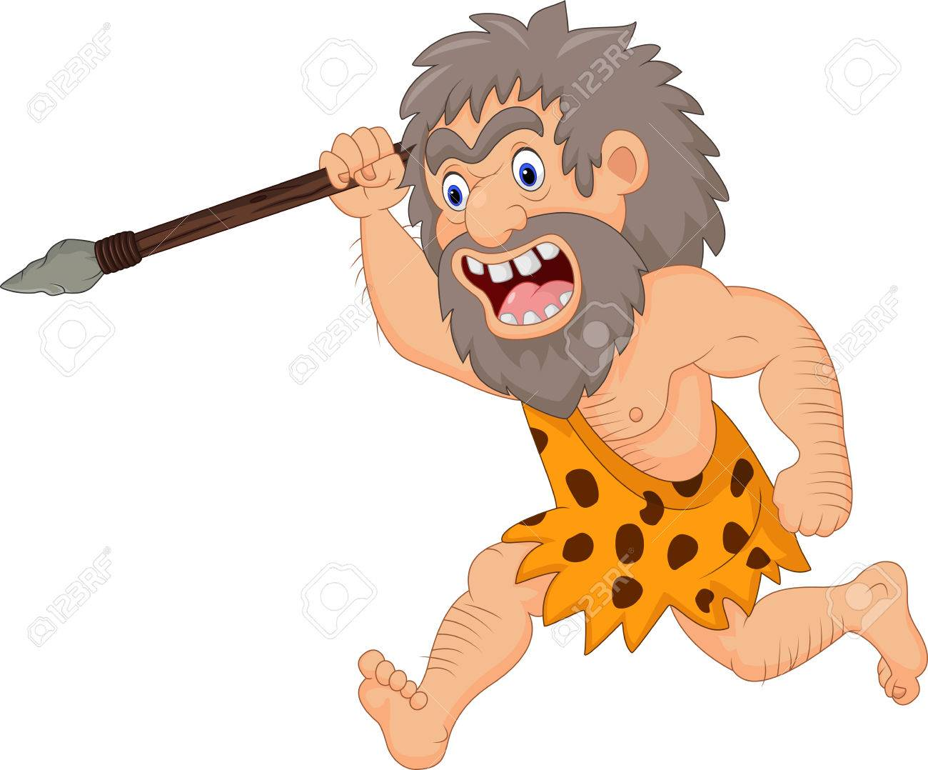 Vector illustration of Cartoon caveman hunting with spear - 85308257