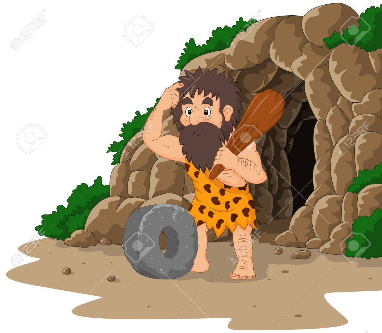 Vector illustration of Cartoon caveman inventing stone wheel with cave background - 85308258