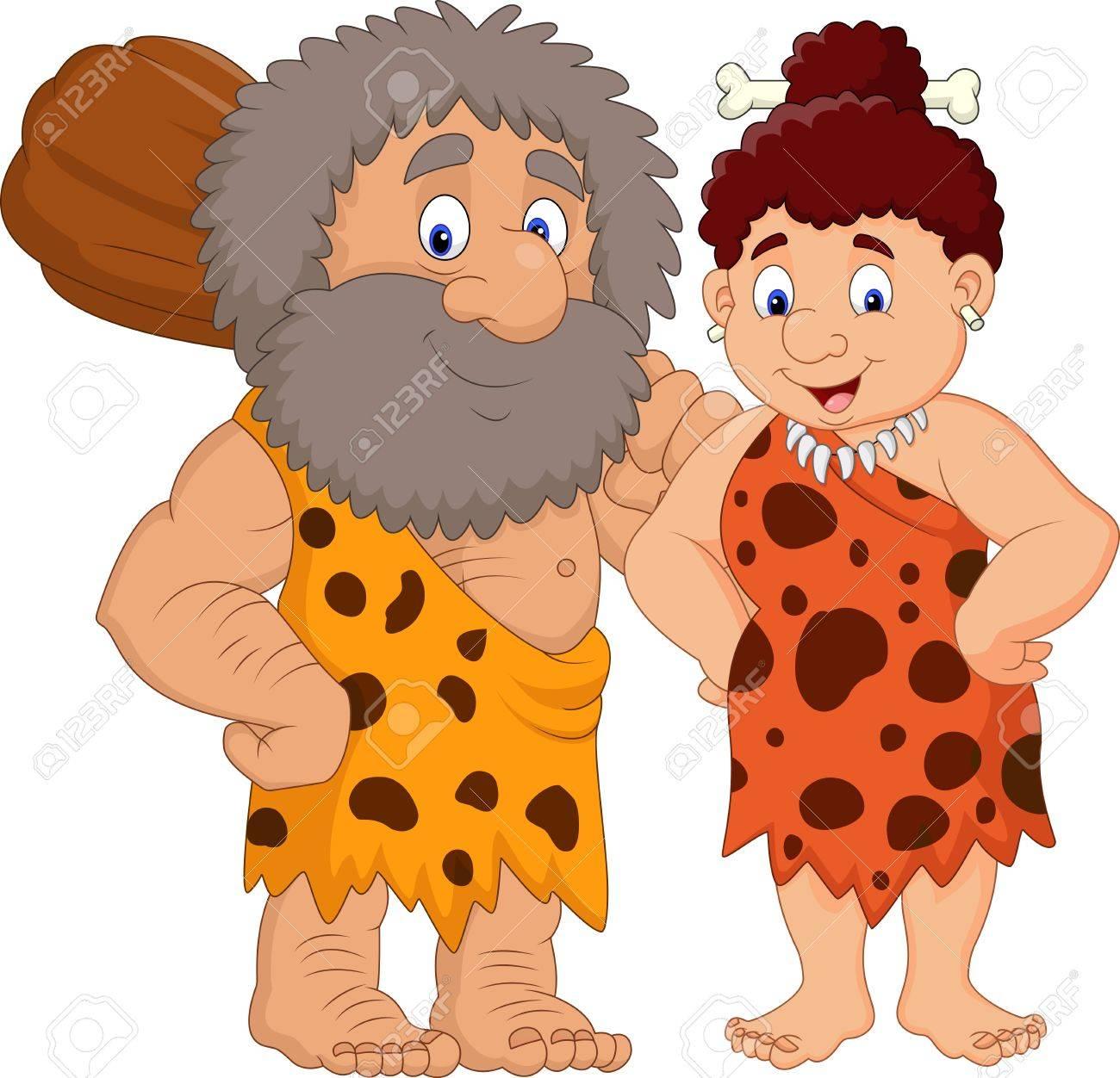 Vector illustration of Cartoon prehistoric caveman couple - 85233668