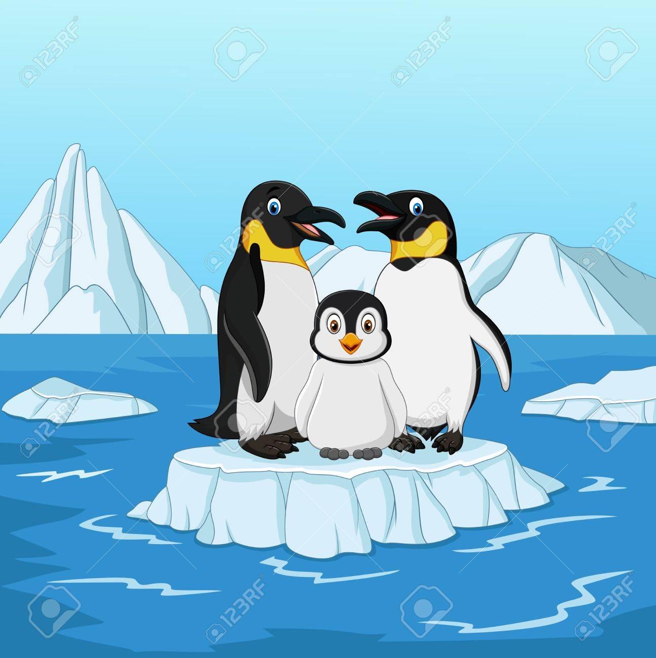 Illustration Vectorielle De Dessin Anime Heureux Pingouin Famille Debout Glace Banquise Clip Art Libres De