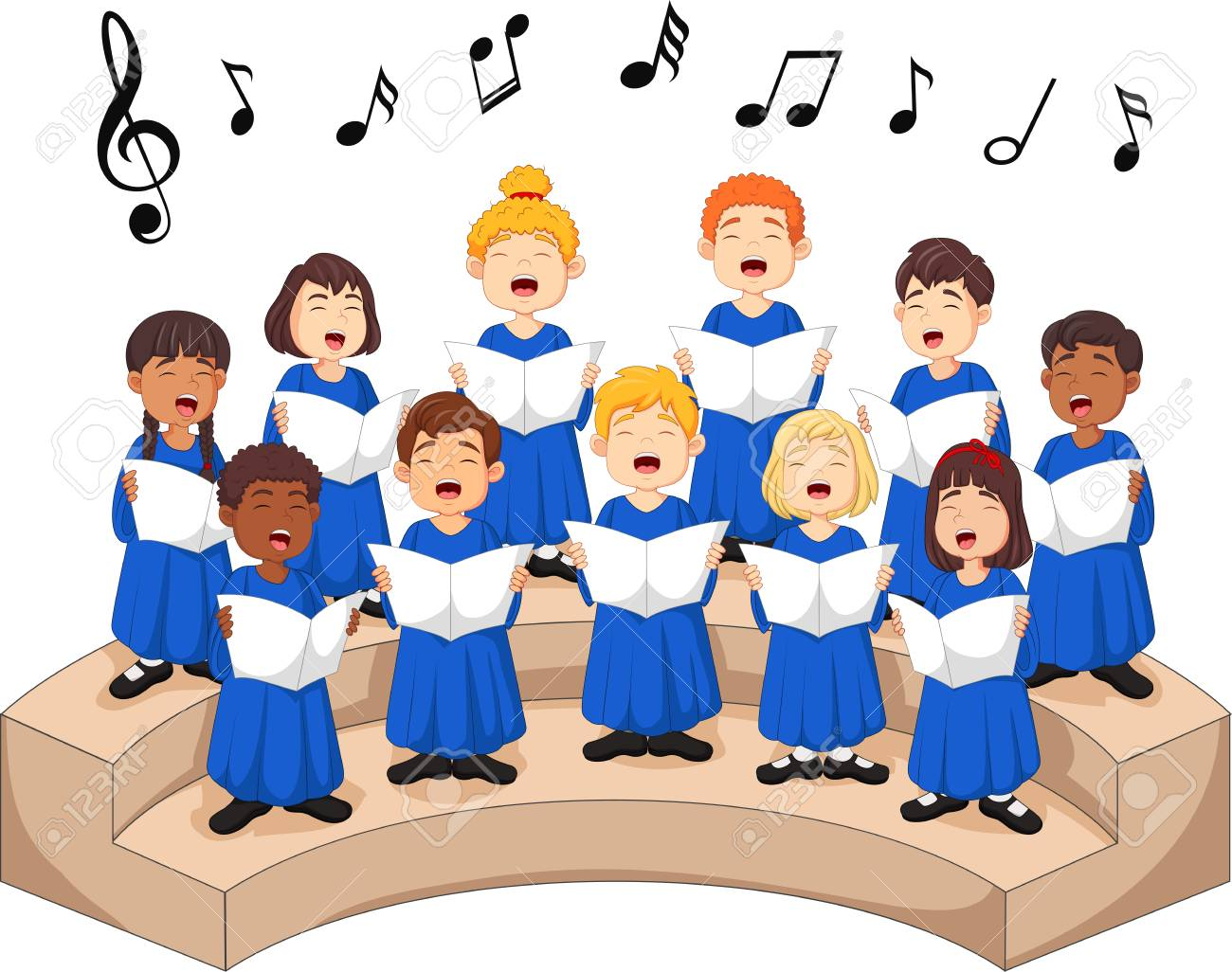 Choir girls and boys singing a song. - 101268454