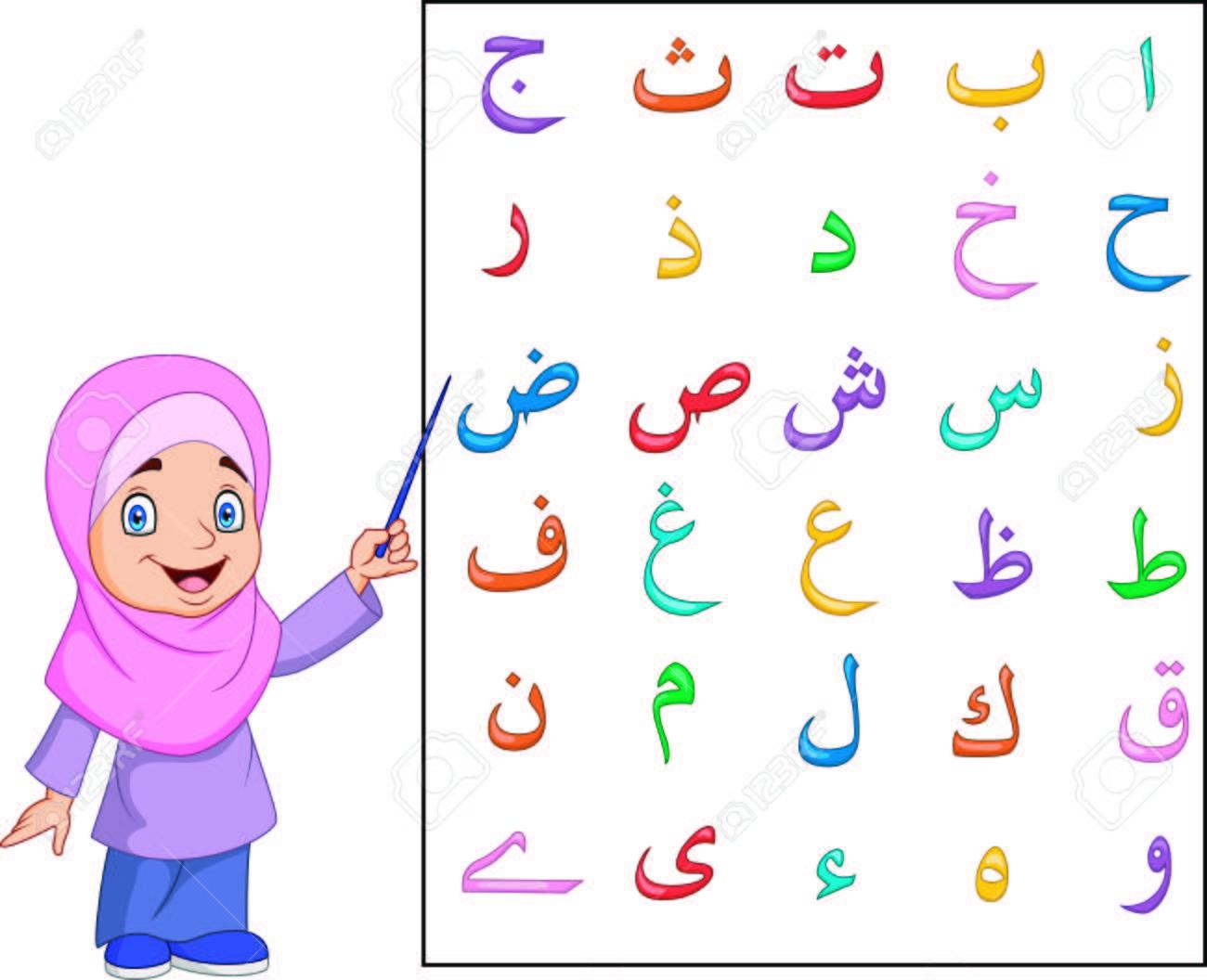 Vector illustration of Muslim girl teaching Arabic alphabet - 106706494