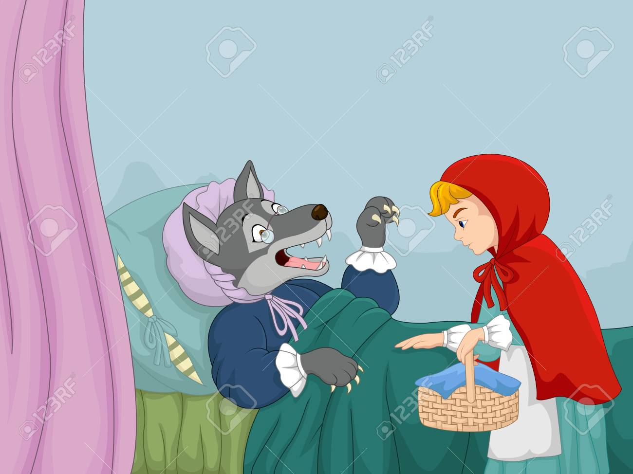 Cartoon Little Red Riding Hood And Wolf Royalty Free Cliparts