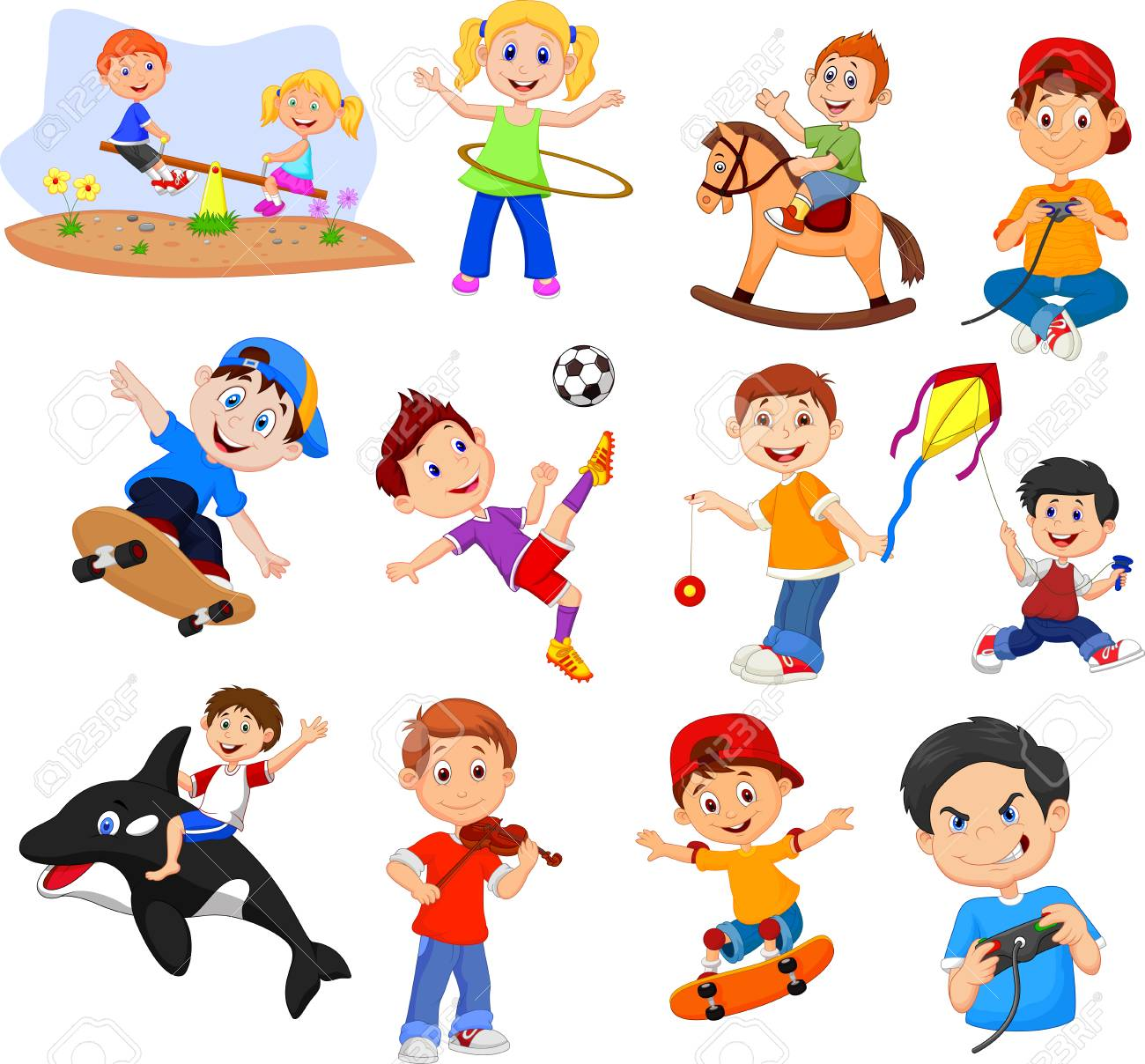 Cartoon Kids With Different Hobbies Collection Set Royalty Free Cliparts Vectors And Stock Illustration Image 111519206