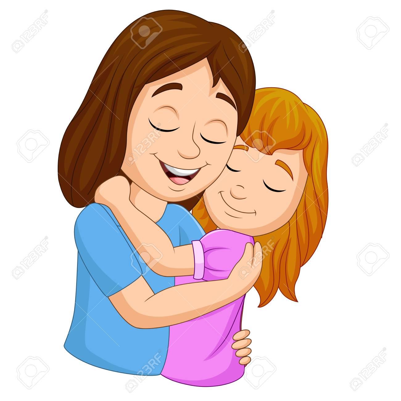 Vector illustration of Cartoon happy mother hugging her daughter - 120324763