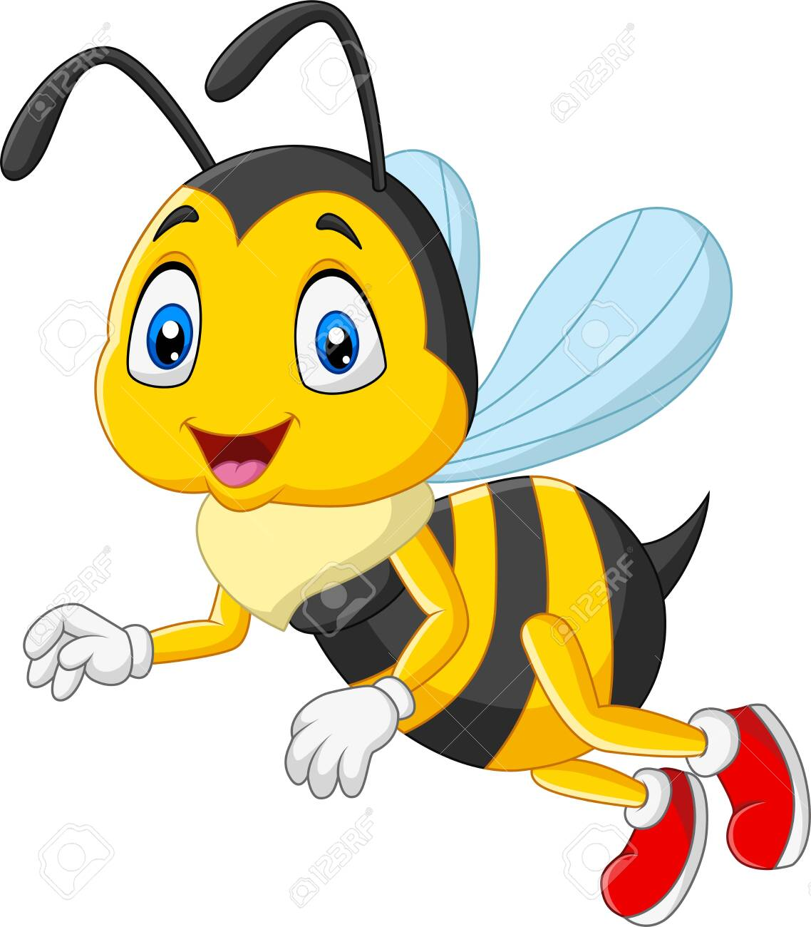 Vector illustration of Cartoon happy bee isolated on white background - 123719571