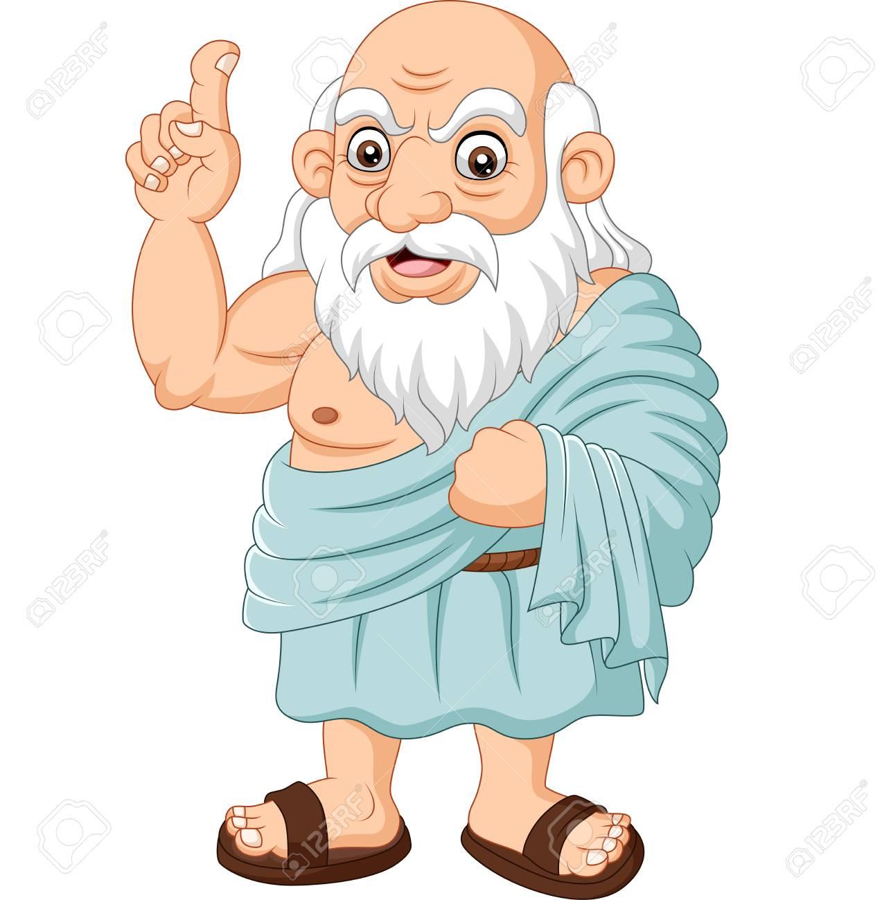 Vector illustration of Cartoon ancient Greek philosopher on white background - 123719594