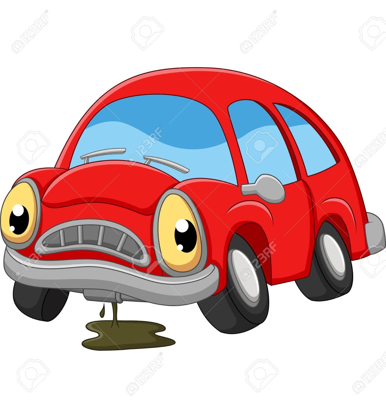 Cartoon red car sad in need of repair - 126484312