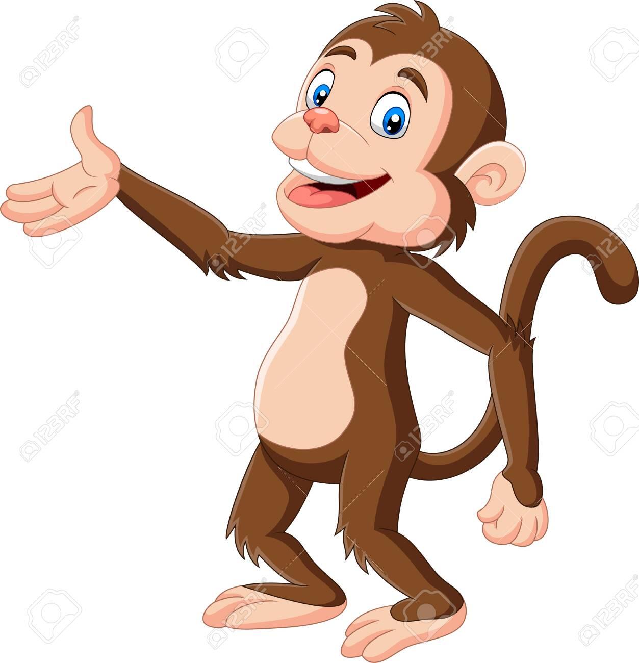 Vector illustration of Cartoon happy monkey presenting on white background - 128376878