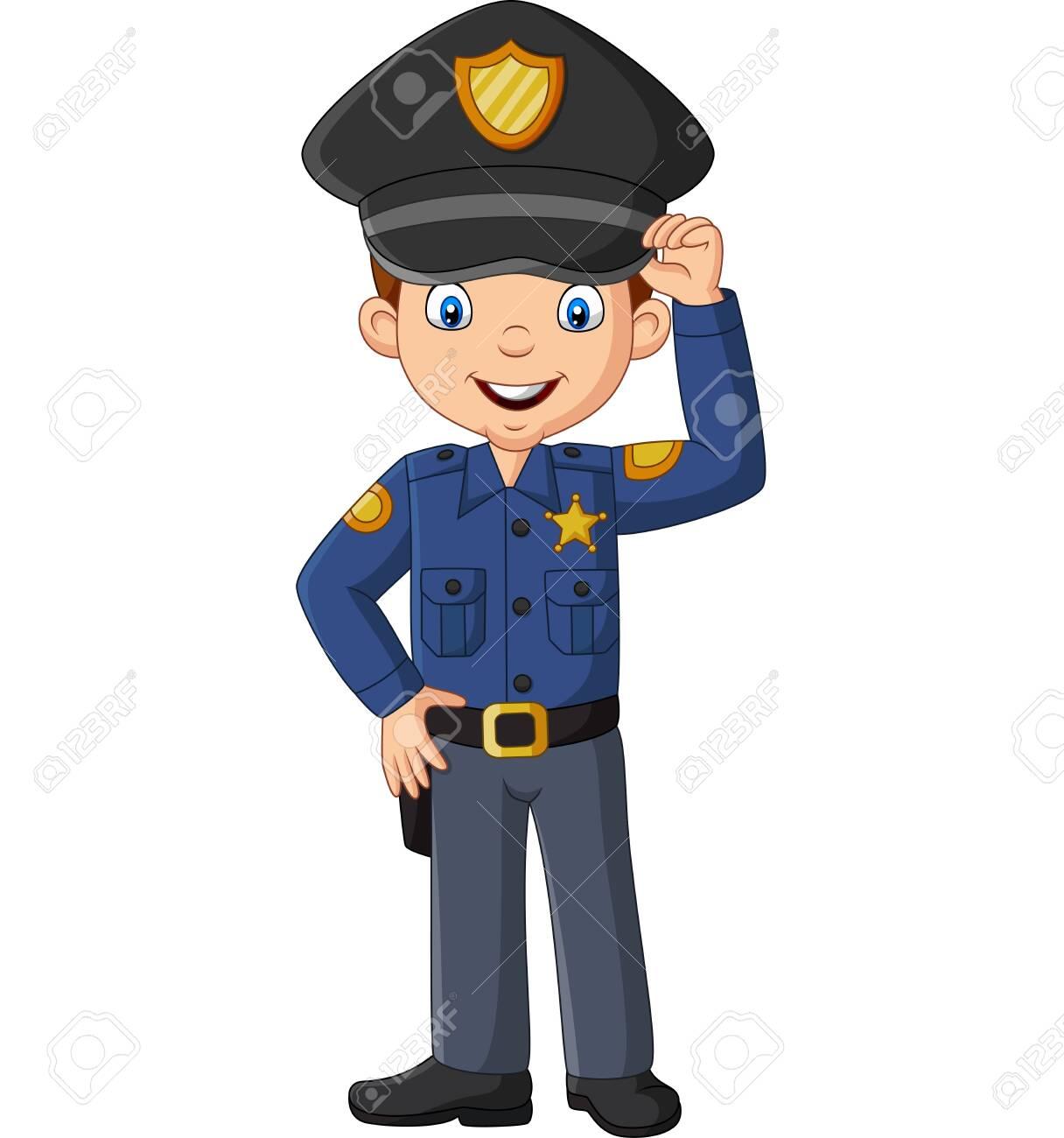 Vector illustration of Cartoon smiling officer policeman standing - 136173027