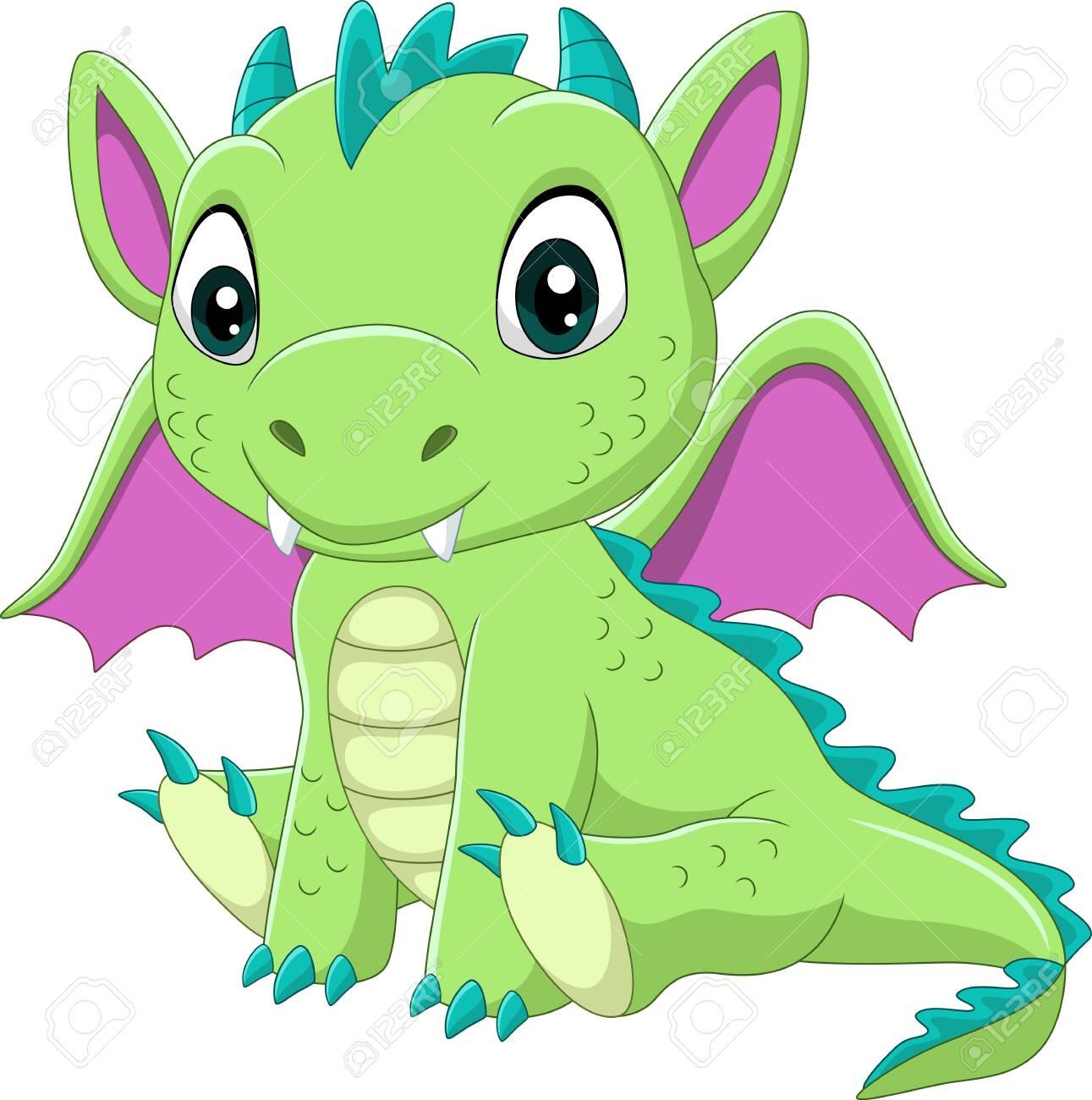 Vector illustration of Cartoon baby green dragon sitting - 140216928