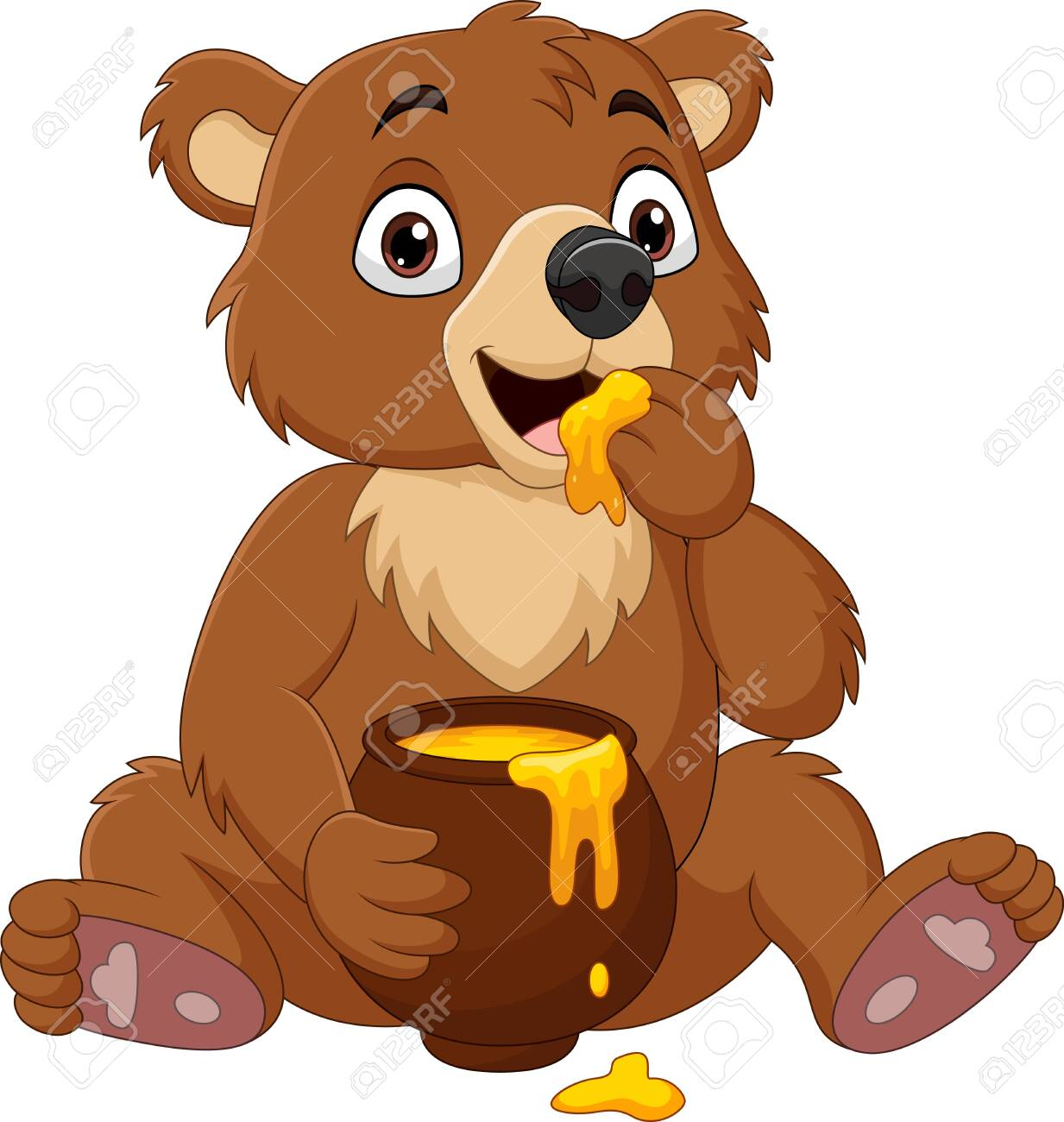 Vector illustration of Cartoon baby bear sitting and eating honey from the pot - 142438116