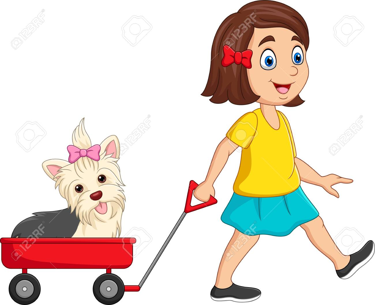 Vector illustration of Cartoon little girl pulling wagon with puppy - 147597362
