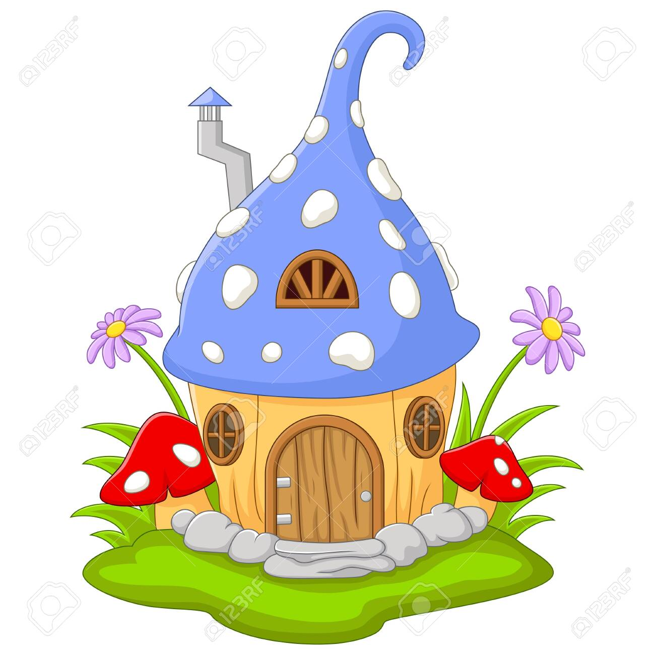 Cartoon Fairy house in the shape of a hat - 152016359