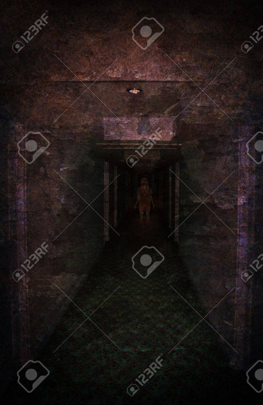 Young woman lost in spooky dirty corridor Stock Photo - 10731057