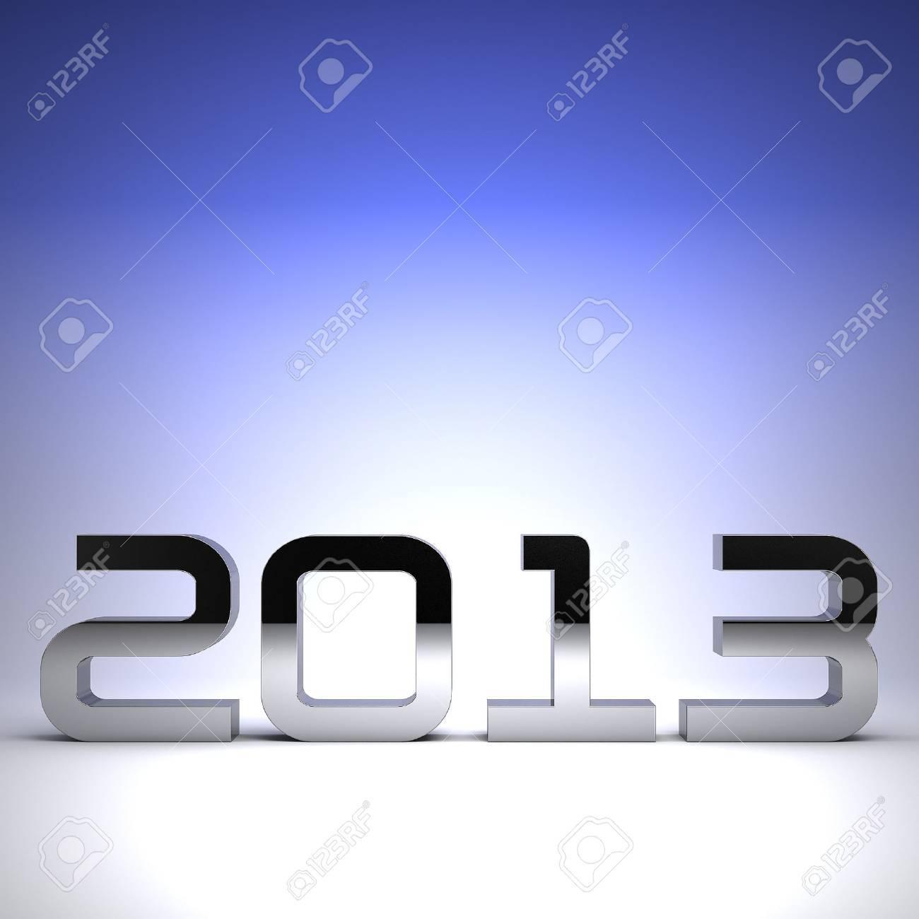 3D happy new year chrome 2013 Stock Photo - 17022984