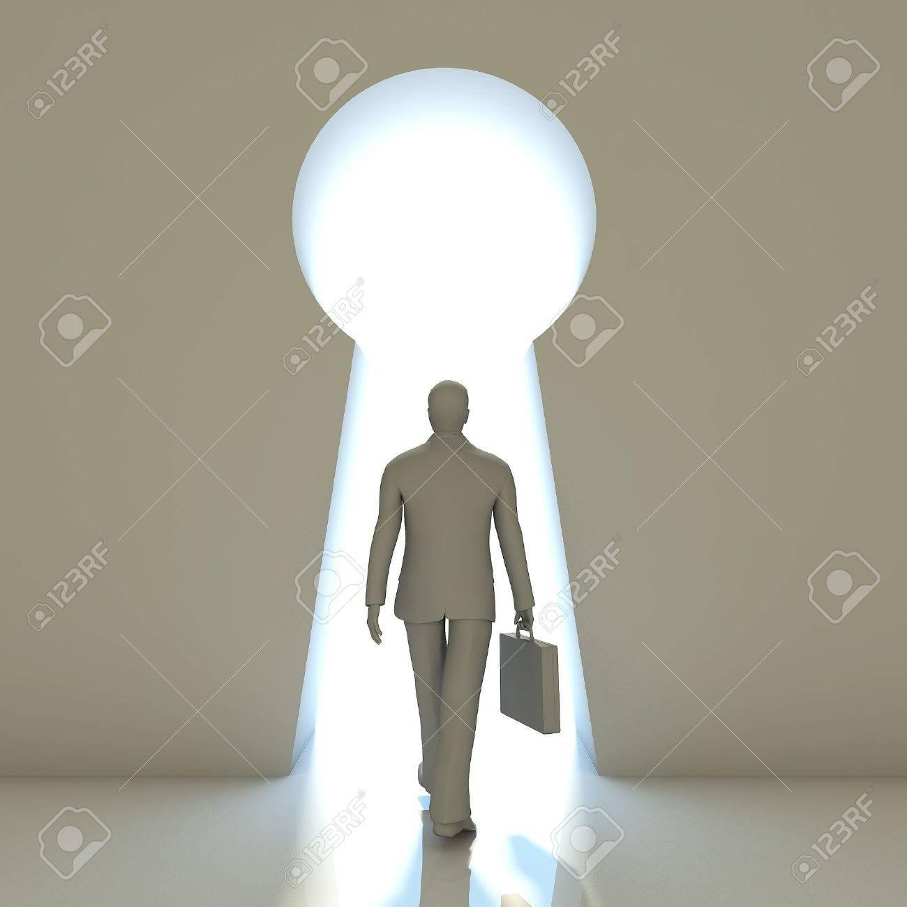 Businessman walking into a gate shaped like a keyhole Stock Photo - 19134876