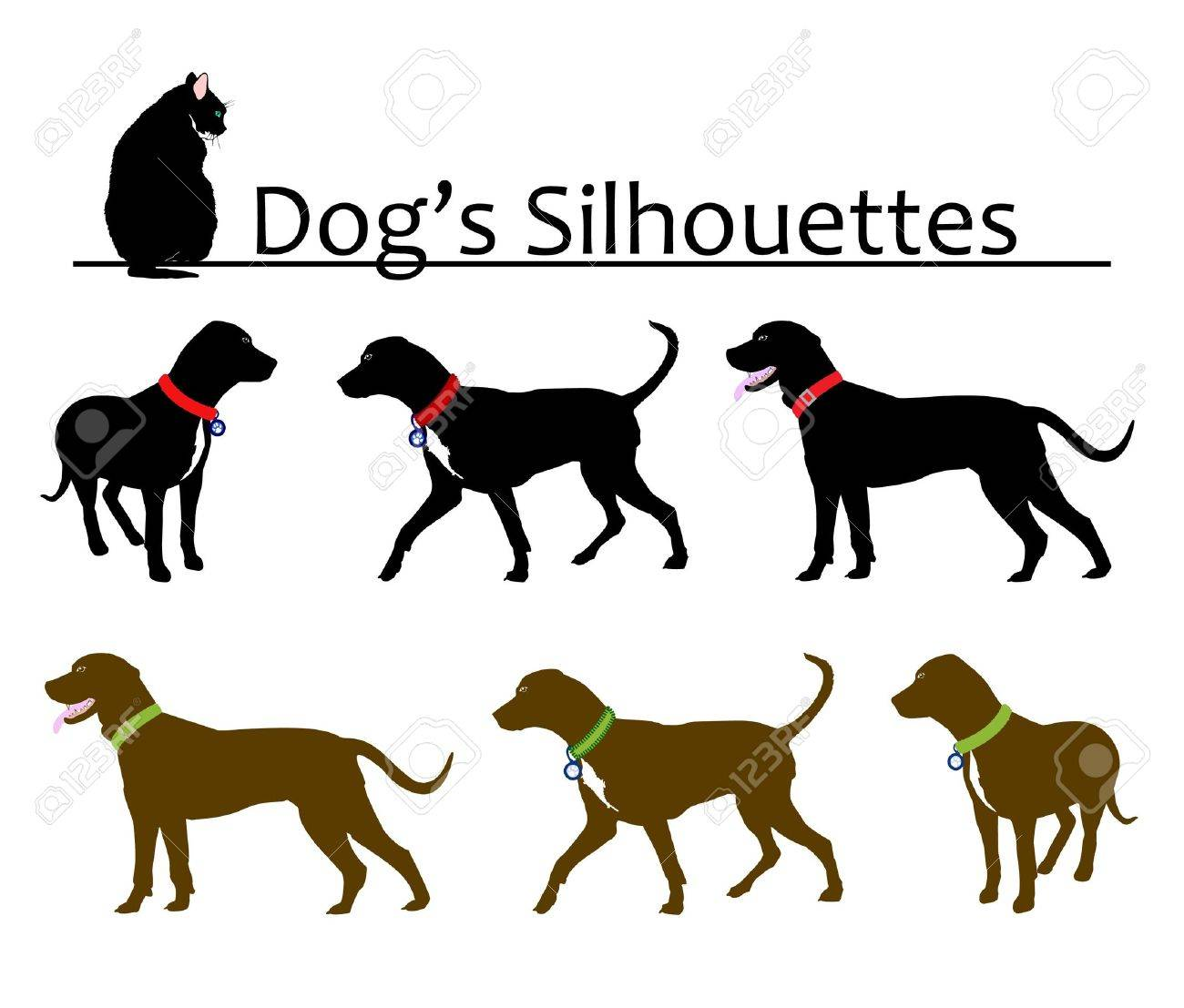 Set of Dog's Silhouettes Vector Stock Vector - 10177264