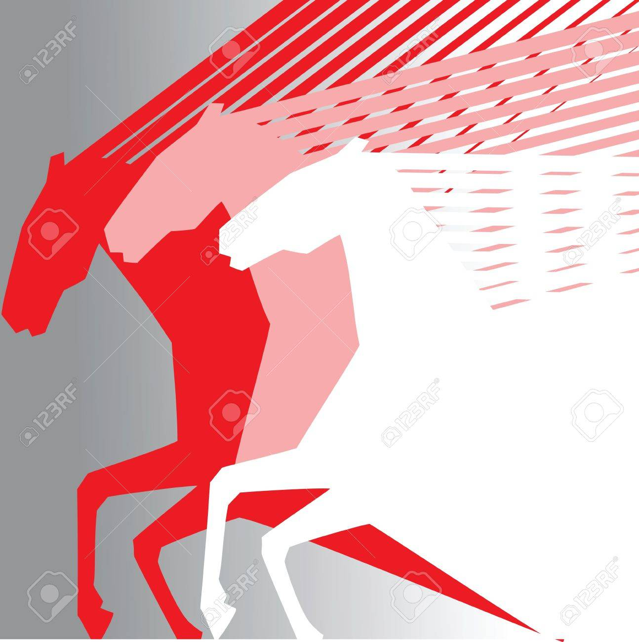 pink horses on grey baclground Stock Vector - 12353606