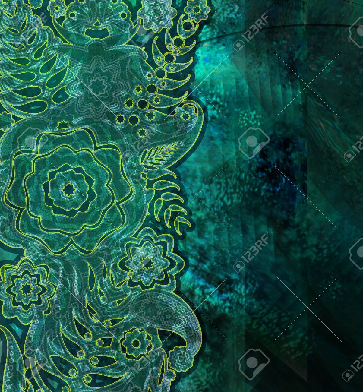 Floral Pattern Dark Green Old Wallpaper Stock Photo Picture And