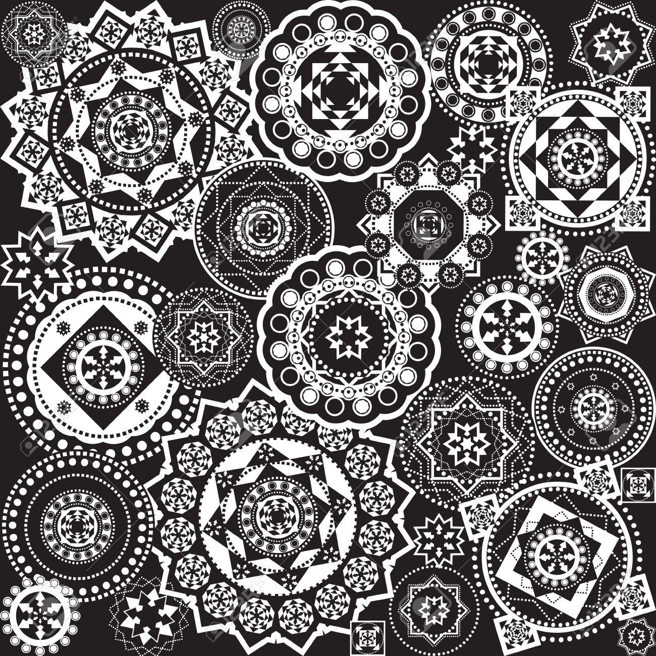 幾何学模様の黒と白 ロイヤリテ...