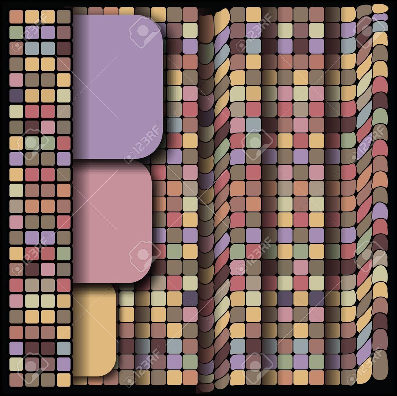 Geometriska mönster, fyrkant set, färgmix kakel royalty fri ...