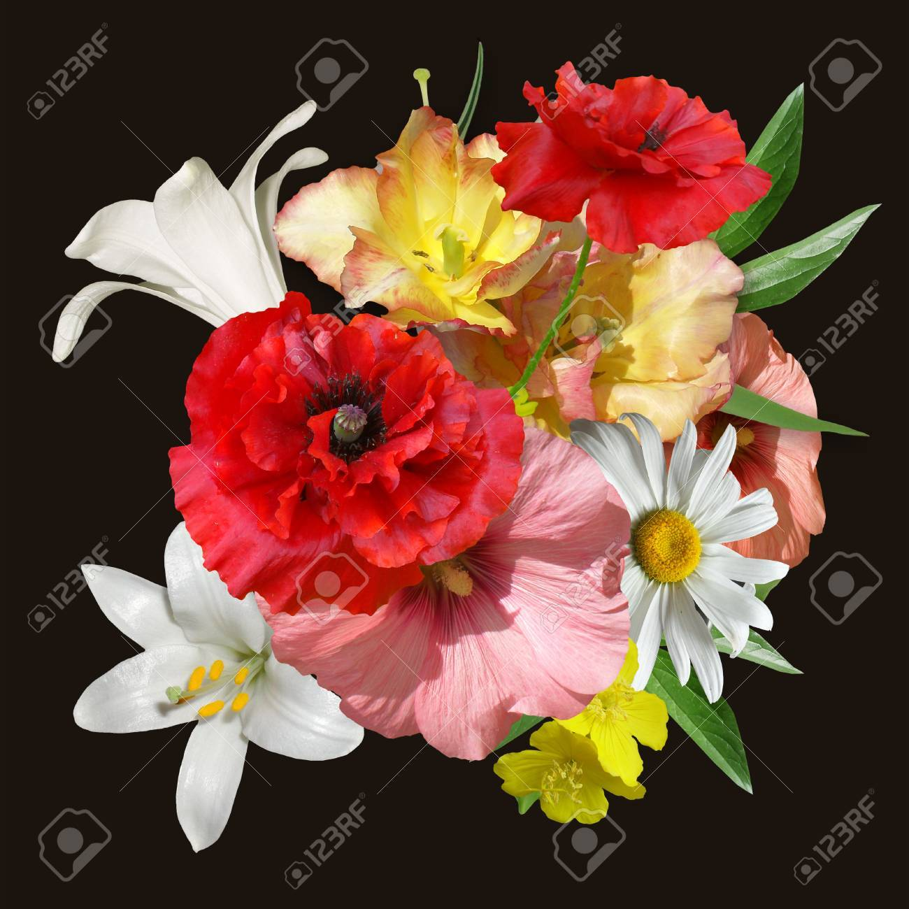 Floral Design Bouquet Poppies Lilies On Black Stock Photo Picture