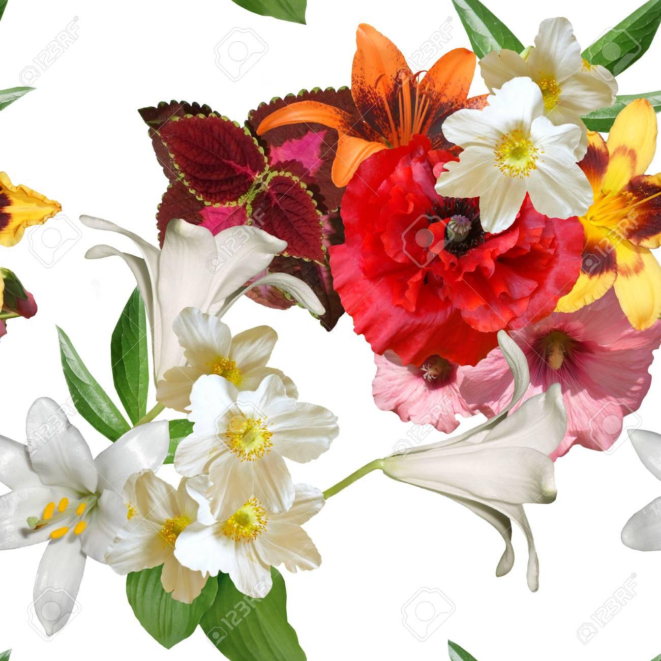 Immagini Stock Bouquet Di Fiori Primaverili Su Uno Sfondo Bianco