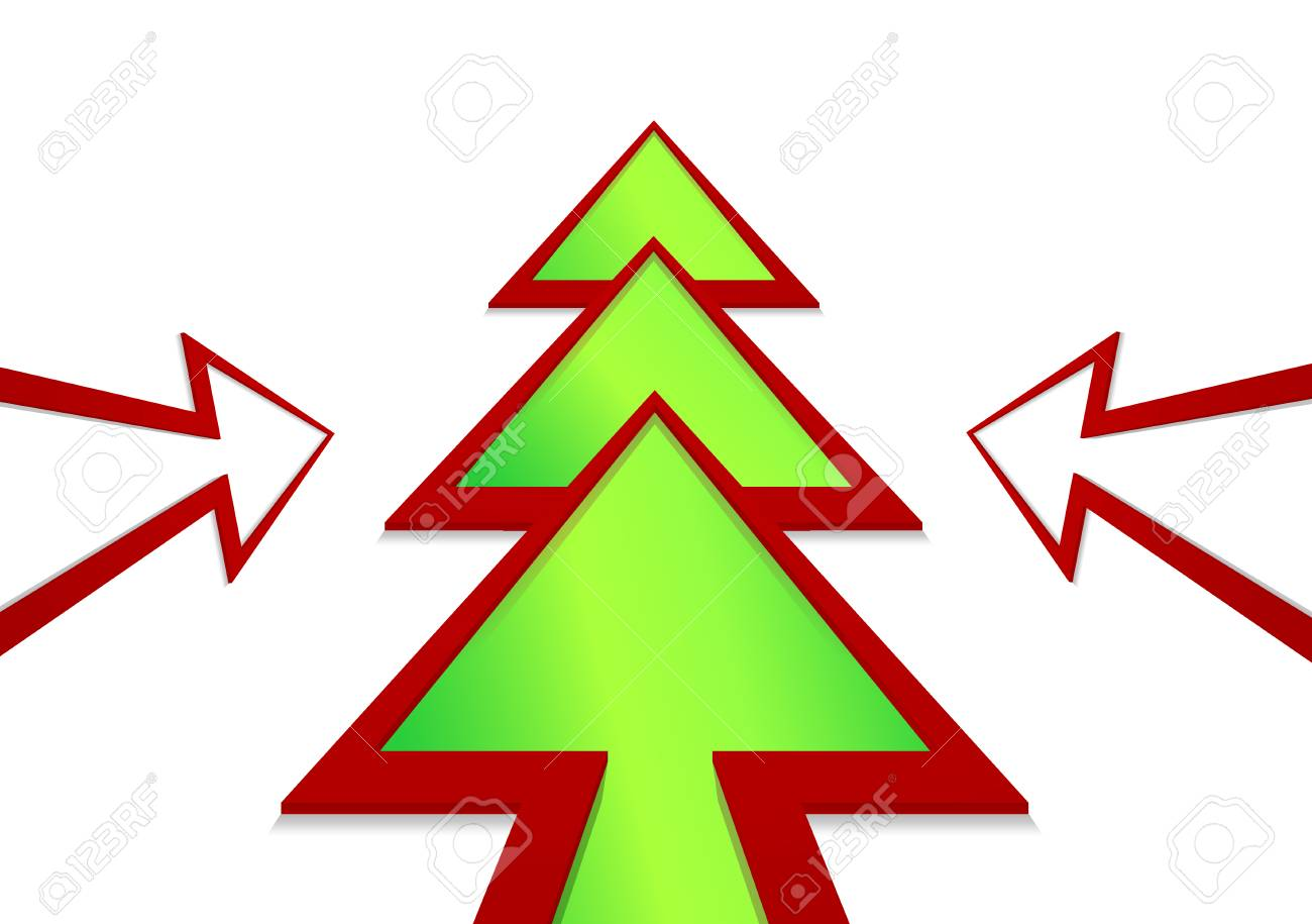 Christmas Arrow.Christmas Tree In The Form Of A Green Arrow On A White Background