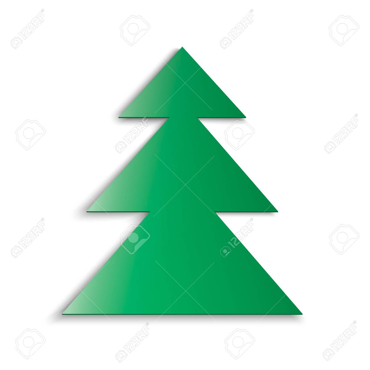 Green christmas tree soft shadow on white background cut out of paper stock vector