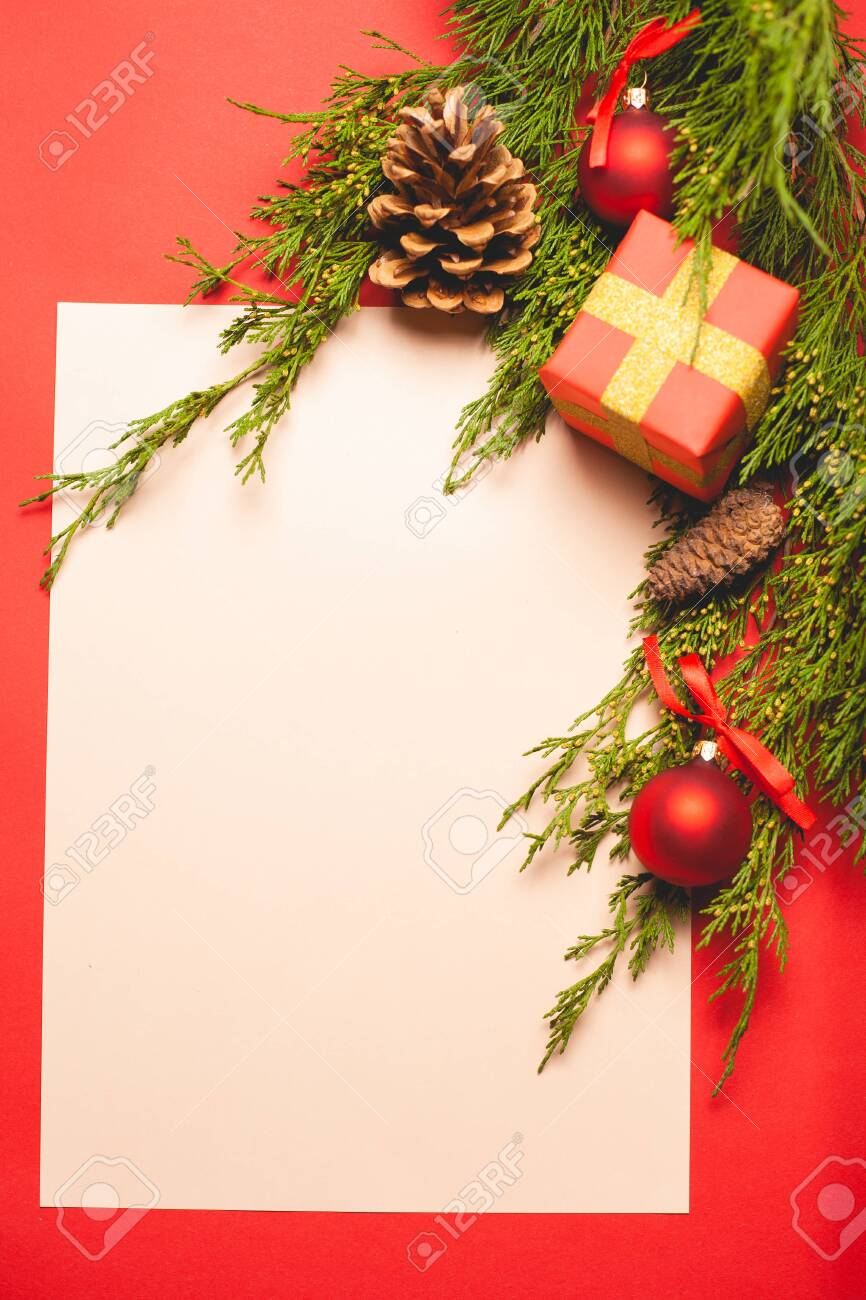 Festive composition on a red background. Template with place for text. - 131240158