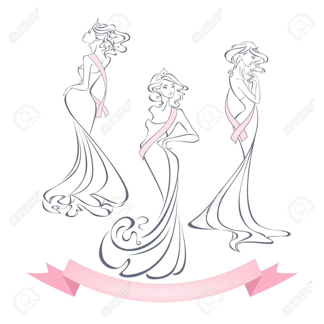Linear Style Silhouettes Of Beautiful Girls In Evening Dresses ...