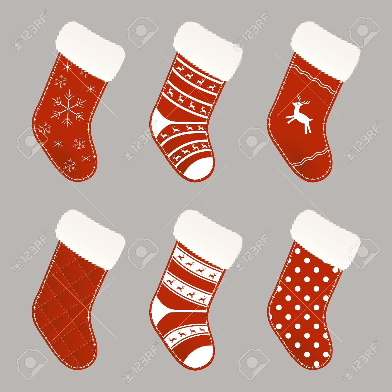 set of red and white christmas socks royalty free cliparts