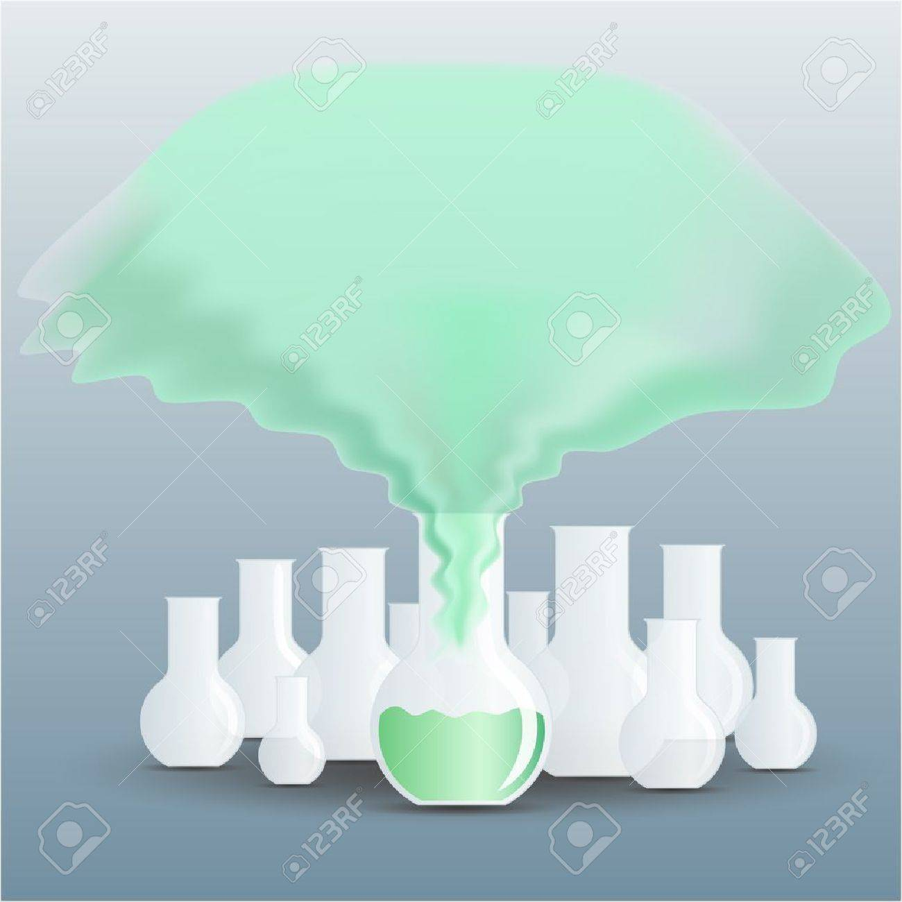 Chemical flask full of green fluid with a vapour going up Stock Vector - 11137530