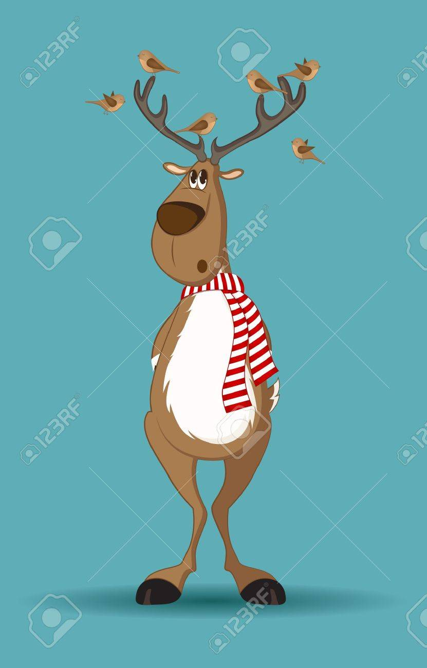 Reindeer with red scarf and birds sitting on its antlers Stock Vector - 11337285