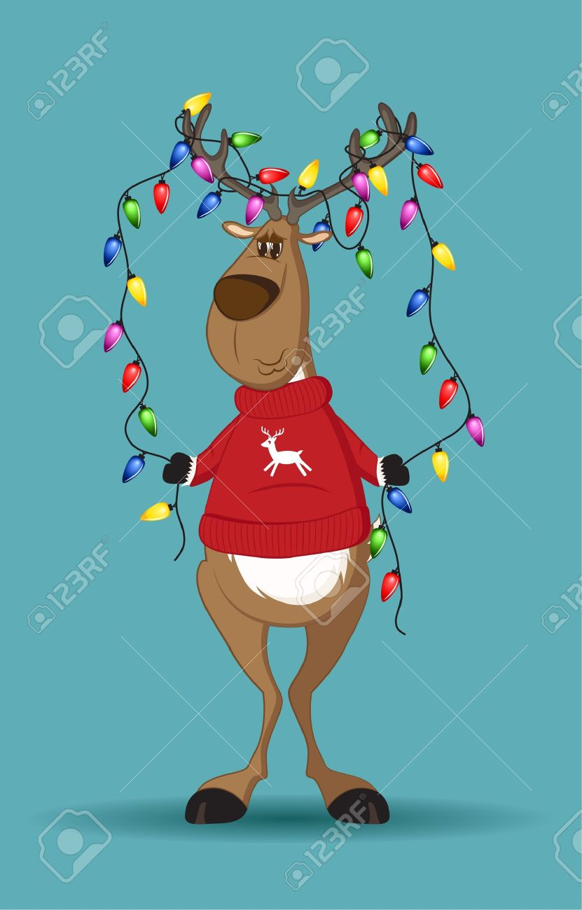 Reindeer in red jumper holding a line of light-bulbs which are tangled in its antlers Stock Vector - 11337289